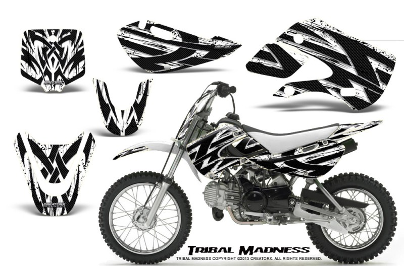 Kawasaki-KLX110-KX65-CreatorX-Graphics-Kit-Tribal-Madness-White