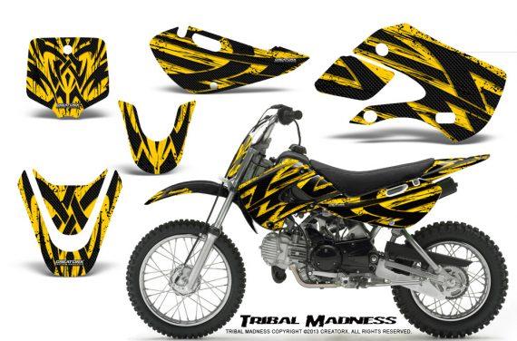 Kawasaki KLX110 KX65 CreatorX Graphics Kit Tribal Madness Yellow BB 570x376 - Kawasaki KLX110 2002-2009 Graphics