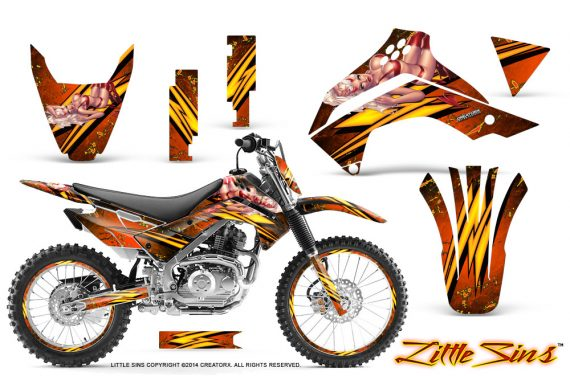 Kawasaki KLX140 08 14 CreatorX Graphics Kit Little Sins Orange NP Rims 570x376 - Kawasaki KLX140 2008-2017 Graphics