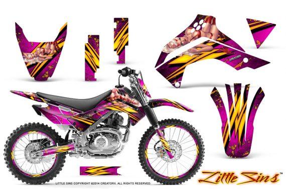 Kawasaki KLX140 08 14 CreatorX Graphics Kit Little Sins Pink NP Rims 570x376 - Kawasaki KLX140 2008-2017 Graphics