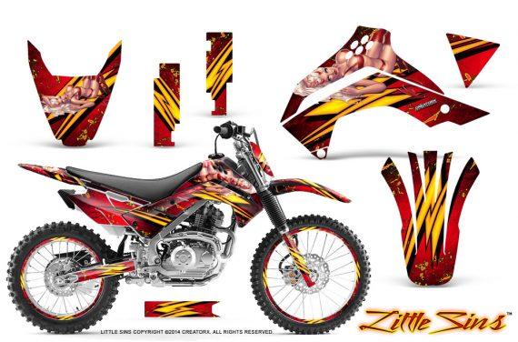 Kawasaki KLX140 08 14 CreatorX Graphics Kit Little Sins Red NP Rims 570x376 - Kawasaki KLX140 2008-2017 Graphics