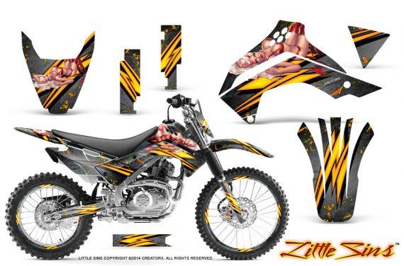 Kawasaki KLX140 08 14 CreatorX Graphics Kit Little Sins Silver NP Rims 570x376 - Kawasaki KLX140 2008-2017 Graphics