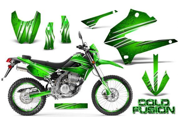Kawasaki KLX250 08 13 DTRACK CreatorX Graphics Kit Cold Fusion Green NP Rims 570x376 - Kawasaki KLX250 2008-2018 Graphics