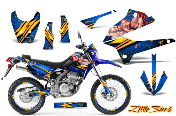Kawasaki KLX250 08 13 DTRACK CreatorX Graphics Kit Little Sins Blue NP Rims 570x376 - Kawasaki KLX250 2008-2018 Graphics