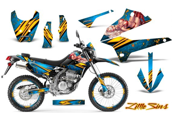 Kawasaki KLX250 08 13 DTRACK CreatorX Graphics Kit Little Sins BlueIce NP Rims 570x376 - Kawasaki KLX250 2008-2018 Graphics