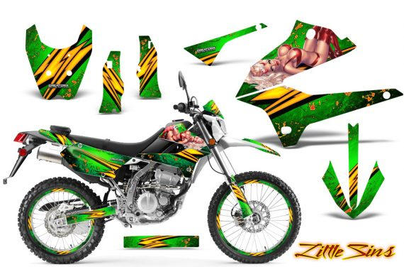 Kawasaki KLX250 08 13 DTRACK CreatorX Graphics Kit Little Sins Green NP Rims 570x376 - Kawasaki KLX250 2008-2018 Graphics