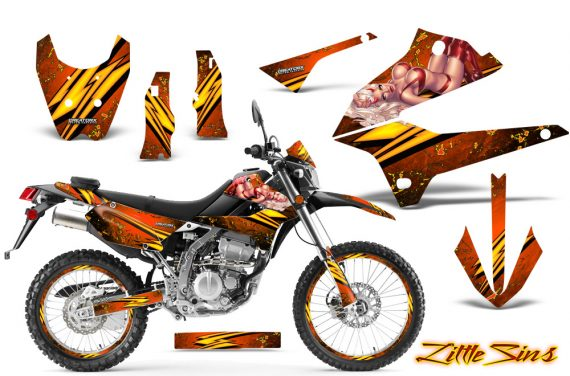 Kawasaki KLX250 08 13 DTRACK CreatorX Graphics Kit Little Sins Orange NP Rims 570x376 - Kawasaki KLX250 2008-2018 Graphics