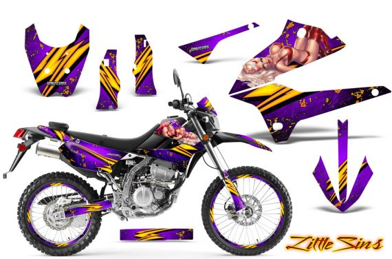 Kawasaki KLX250 08 13 DTRACK CreatorX Graphics Kit Little Sins Purple NP Rims 570x376 - Kawasaki KLX250 2008-2018 Graphics