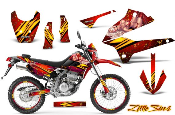 Kawasaki KLX250 08 13 DTRACK CreatorX Graphics Kit Little Sins Red NP Rims 570x376 - Kawasaki KLX250 2008-2018 Graphics