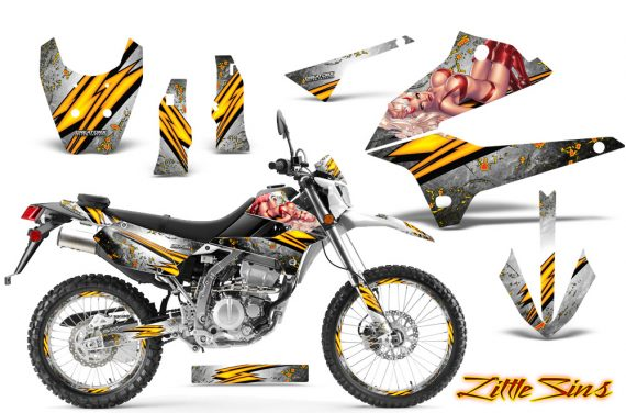Kawasaki KLX250 08 13 DTRACK CreatorX Graphics Kit Little Sins White NP Rims 570x376 - Kawasaki KLX250 2008-2018 Graphics