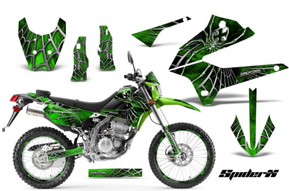 Kawasaki KLX250 08 13 DTRACK CreatorX Graphics Kit SpiderX Green NP Rims 570x376 - Kawasaki KLX250 2008-2018 Graphics