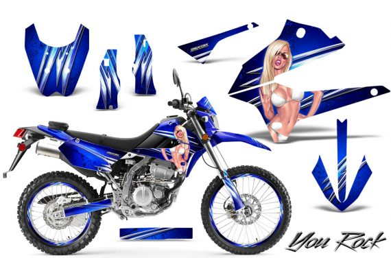 Kawasaki KLX250 08 13 DTRACK CreatorX Graphics Kit You Rock Blue NP Rims 570x376 - Kawasaki KLX250 2008-2018 Graphics