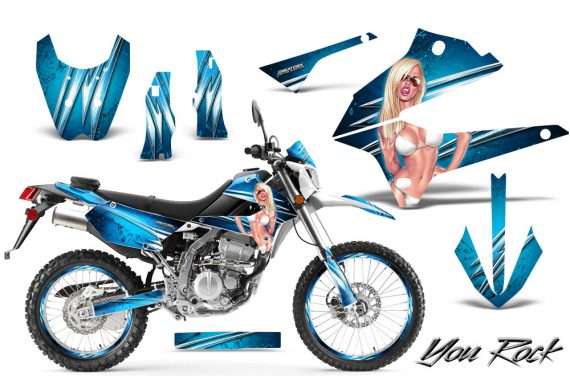 Kawasaki KLX250 08 13 DTRACK CreatorX Graphics Kit You Rock BlueIce NP Rims 570x376 - Kawasaki KLX250 2008-2018 Graphics