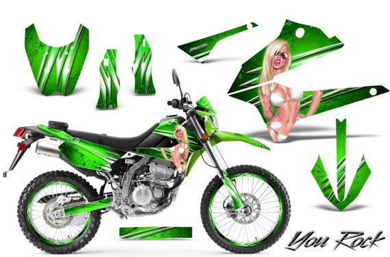Kawasaki KLX250 08 13 DTRACK CreatorX Graphics Kit You Rock Green NP Rims 570x376 - Kawasaki KLX250 2008-2018 Graphics