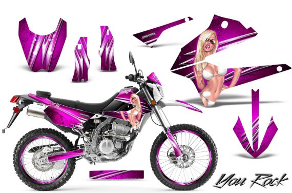 Kawasaki KLX250 08 13 DTRACK CreatorX Graphics Kit You Rock Pink NP Rims 570x376 - Kawasaki KLX250 2008-2018 Graphics