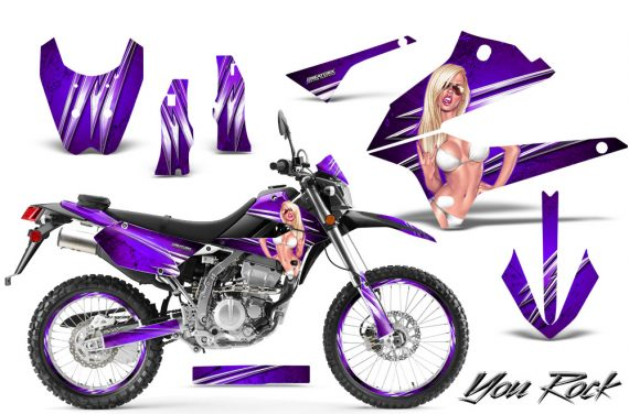 Kawasaki KLX250 08 13 DTRACK CreatorX Graphics Kit You Rock Purple NP Rims 570x376 - Kawasaki KLX250 2008-2018 Graphics