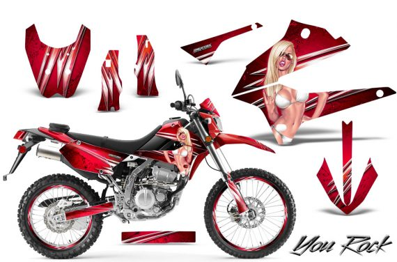 Kawasaki KLX250 08 13 DTRACK CreatorX Graphics Kit You Rock Red NP Rims 570x376 - Kawasaki KLX250 2008-2018 Graphics