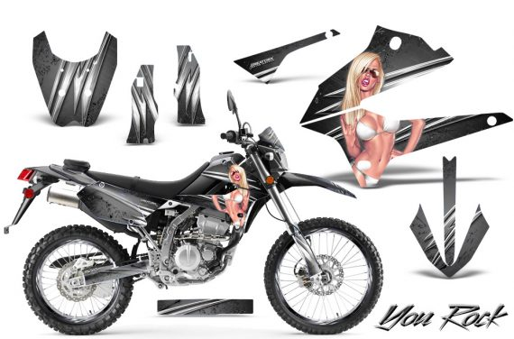 Kawasaki KLX250 08 13 DTRACK CreatorX Graphics Kit You Rock Silver NP Rims 570x376 - Kawasaki KLX250 2008-2018 Graphics