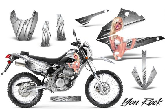 Kawasaki KLX250 08 13 DTRACK CreatorX Graphics Kit You Rock White NP Rims 570x376 - Kawasaki KLX250 2008-2018 Graphics