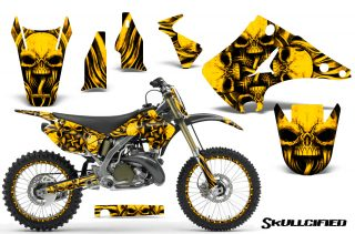 Kawasaki KX125 KX250 03 12 CreatorX Graphics Kit Skullcified Yellow NP Rims 320x211 - Kawasaki KX125-250 2003-2016 Graphics