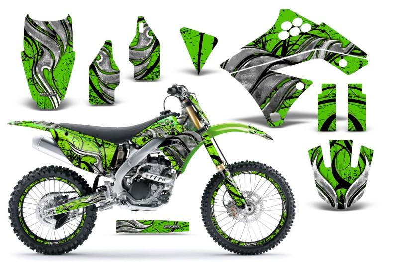 Kawasaki-KX250F-09-12-CreatorX-Graphics-Kit-Fire-Blade-Black-Green-NP-Rims