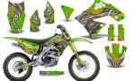 Kawasaki KX250F 09 12 CreatorX Graphics Kit Fire Blade Orange Green NP Rims 150x90 - Kawasaki KX250F 2009-2012 Graphics