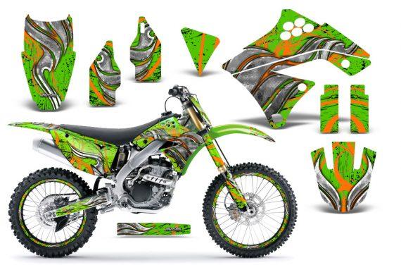 Kawasaki KX250F 09 12 CreatorX Graphics Kit Fire Blade Orange Green NP Rims 570x376 - Kawasaki KX250F 2009-2012 Graphics
