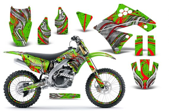 Kawasaki KX250F 09 12 CreatorX Graphics Kit Fire Blade Red Green NP Rims 570x376 - Kawasaki KX250F 2009-2012 Graphics