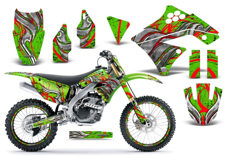 Kawasaki-KX250F-09-12-CreatorX-Graphics-Kit-Fire-Blade-Red-Green-NP-Rims