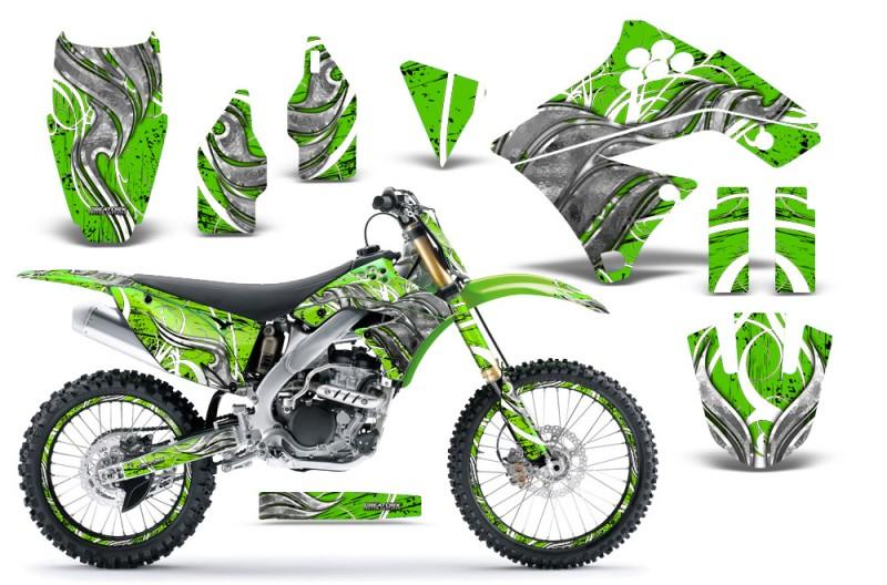 Kawasaki-KX250F-09-12-CreatorX-Graphics-Kit-Fire-Blade-White-Green-NP-Rims