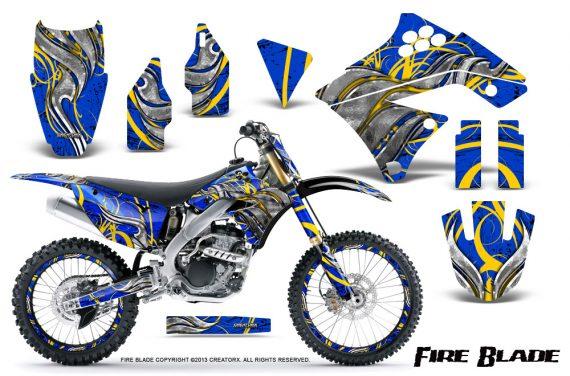 Kawasaki KX250F 09 12 CreatorX Graphics Kit Fire Blade Yellow Blue NP Rims 570x376 - Kawasaki KX250F 2009-2012 Graphics