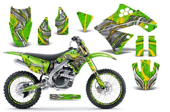 Kawasaki KX250F 09 12 CreatorX Graphics Kit Fire Blade Yellow Green NP Rims 570x376 - Kawasaki KX250F 2009-2012 Graphics