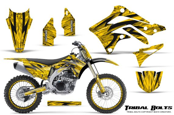 Kawasaki-KX450F-2012-2015-CreatorX-Graphics-Kit-Tribal-Bolts-Yellow-NP-Rims