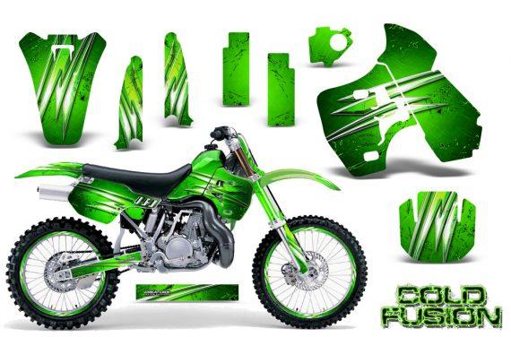 Kawasaki KX500 88 04 CreatorX Graphics Kit Cold Fusion Green NP Rims 570x376 - Kawasaki KX500 1988-2004 Graphics
