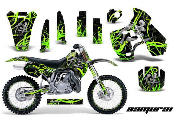 Kawasaki KX500 88 04 CreatorX Graphics Kit Samurai Green Black NP Rims 570x376 - Kawasaki KX500 1988-2004 Graphics