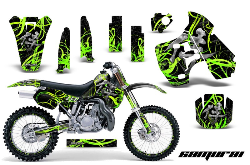 Kawasaki-KX500-88-04-CreatorX-Graphics-Kit-Samurai-Green-Black-NP-Rims