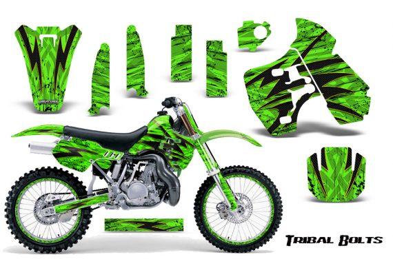 Kawasaki KX500 88 04 CreatorX Graphics Kit Tribal Bolts Yellow Green NP Rims 570x376 - Kawasaki KX500 1988-2004 Graphics