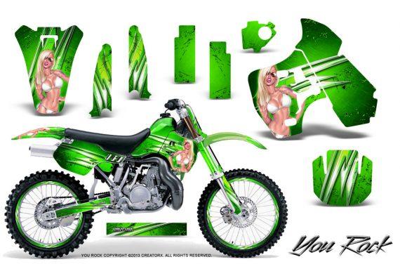 Kawasaki KX500 88 04 CreatorX Graphics Kit You Rock Green NP Rims 570x376 - Kawasaki KX500 1988-2004 Graphics