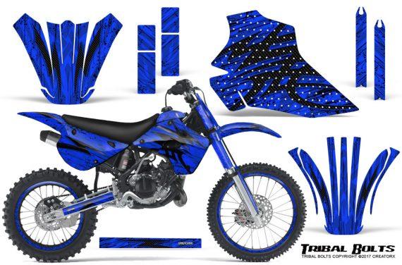 Kawasaki-KX80-KX100-95-97-CreatorX-Graphics-Kit-Tribal-Bolts-Blue-Rims