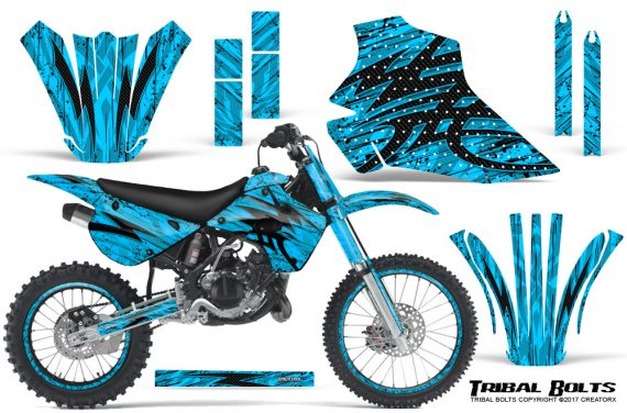 Kawasaki-KX80-KX100-95-97-CreatorX-Graphics-Kit-Tribal-Bolts-BlueIce-Rims