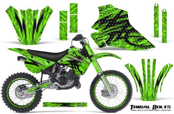 Kawasaki-KX80-KX100-95-97-CreatorX-Graphics-Kit-Tribal-Bolts-Green-Rims