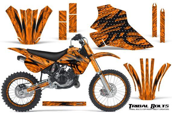 Kawasaki-KX80-KX100-95-97-CreatorX-Graphics-Kit-Tribal-Bolts-Orange-Rims