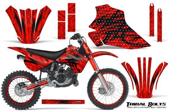 Kawasaki-KX80-KX100-95-97-CreatorX-Graphics-Kit-Tribal-Bolts-Red-Rims