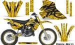 Kawasaki KX80 KX100 95 97 CreatorX Graphics Kit Tribal Bolts Yellow Rims 150x90 - Kawasaki KX80 KX100 1995-1997 Graphics