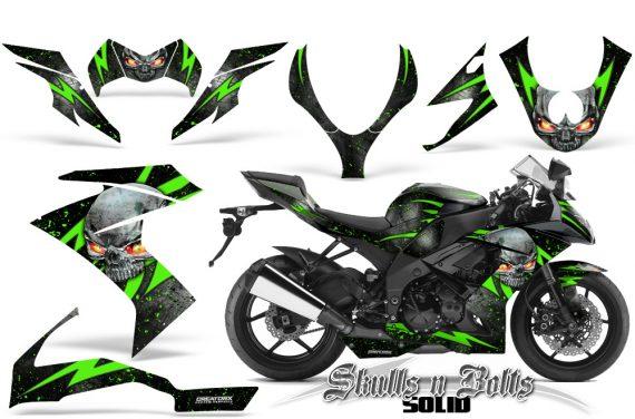 Kawasaki Ninja ZX10 Skulls n Bolts Solid Green Black 570x376 - Kawasaki ZX10 Ninja 2008-2009 Graphics