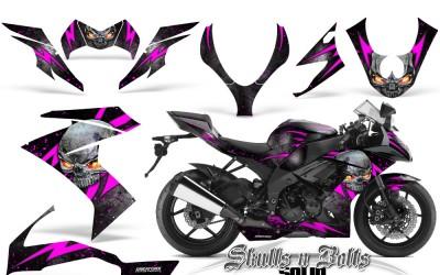 Kawasaki Ninja ZX10 Skulls N Bolts Solid Pink Black