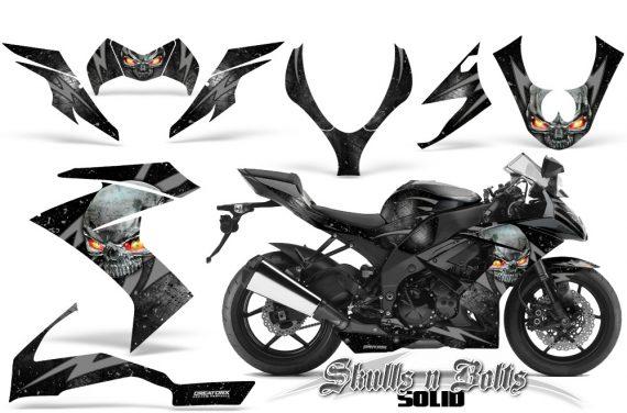 Kawasaki Ninja ZX10 Skulls n Bolts Solid Silver Black 570x376 - Kawasaki ZX10 Ninja 2008-2009 Graphics