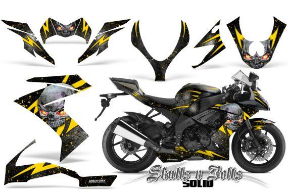 Kawasaki Ninja ZX10 Skulls n Bolts Solid Yellow Black 570x376 - Kawasaki ZX10 Ninja 2008-2009 Graphics