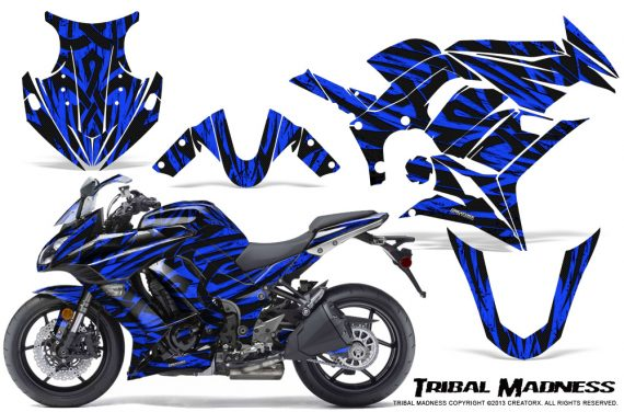 Kawasaki ZX 1000 10 13 CreatorX Graphics Kit Tribal Madness Blue 570x376 - Kawasaki ZX1000 Ninja 2010-2013 Graphics