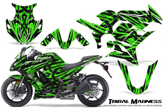 Kawasaki ZX 1000 10 13 CreatorX Graphics Kit Tribal Madness Green 570x376 - Kawasaki ZX1000 Ninja 2010-2013 Graphics